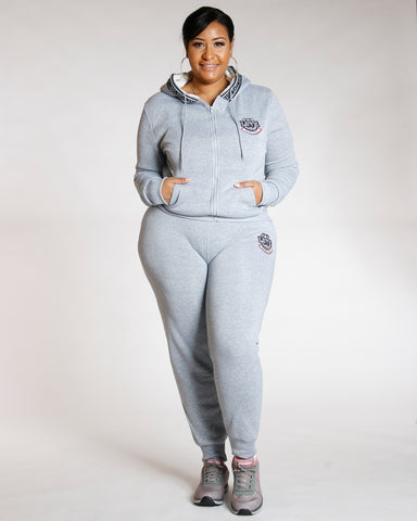 Heather Grey PLUS KNITTED LOVE FLEECE JOGGER