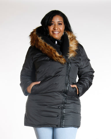 Bonny Plus Black Heavy Fur Hood Jacket