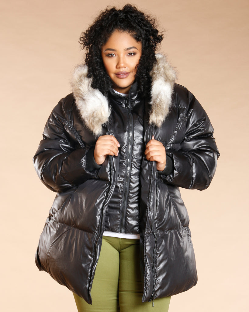 VIM VIXEN Plus Fur Hood Puffer Jacket - Black - ShopVimVixen.com