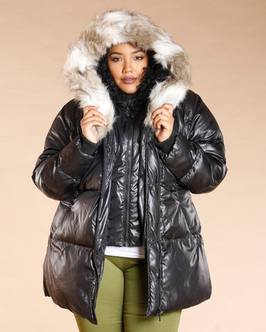 Plus Fur Hood Puffer Jacket