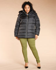 Plus Fur Hood Belted Long Jacket