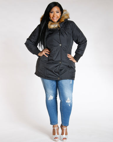 Mattye Plus Black Fur Hood Heavy Jacket