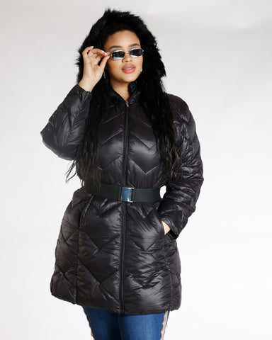 Black Fur Hood Belted Jacket