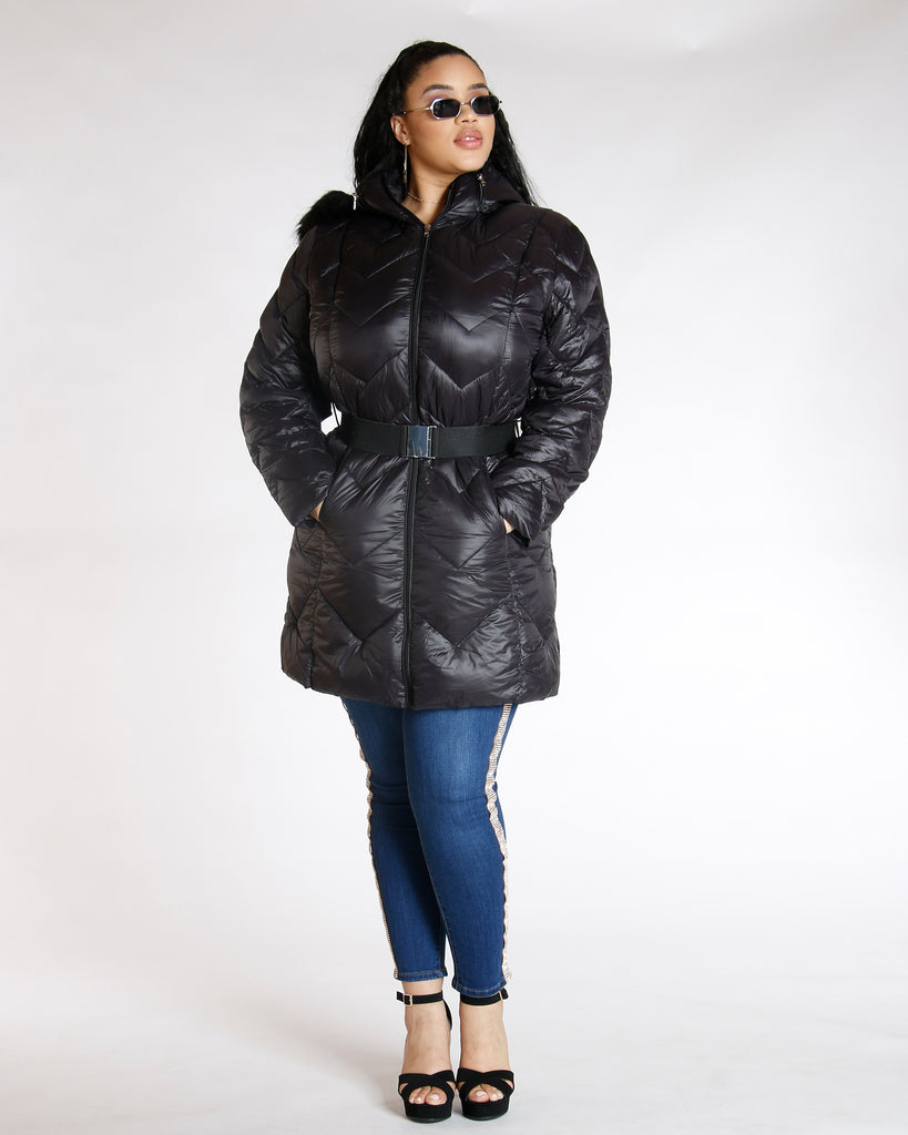 VIM VIXEN Black Fur Hood Belted Jacket - ShopVimVixen.com