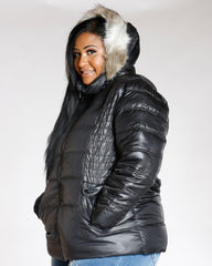 Plus Black Fur Hood Jacket