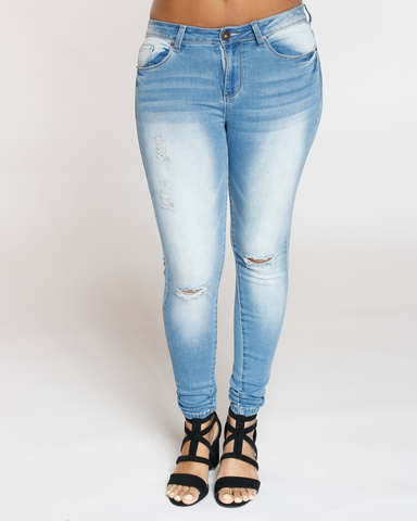 Kacie Knee Slit Skinny Jean - Light Blue
