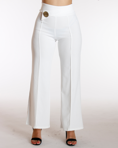 Big Button Flare Leg Crepe Pant - Off White
