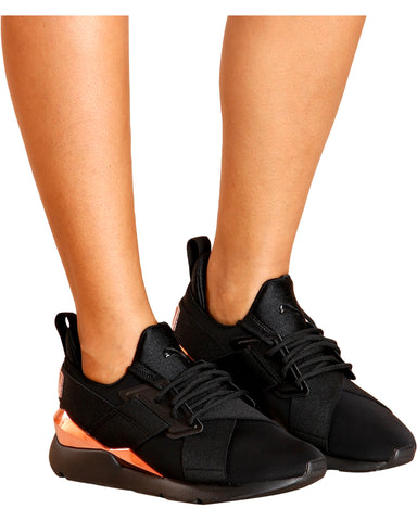Muse Chase Low Top Sneaker - Black/Rose Gold