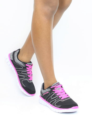 Lace Up Jersey Mesh Sneakers