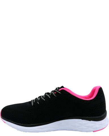 Lace-Up Comfort Walking Sneaker - Black/Pink