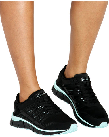 Lace Up Low Top Sneaker - Black/Mint