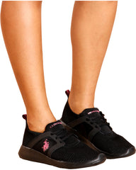 U.S. POLO ASSN. Lace Up Low Top Sneaker - Black Pink - ShopVimVixen.com