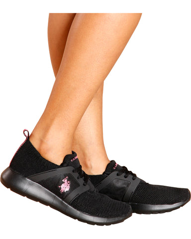 Lace Up Low Top Sneaker - Black/Fuchsia