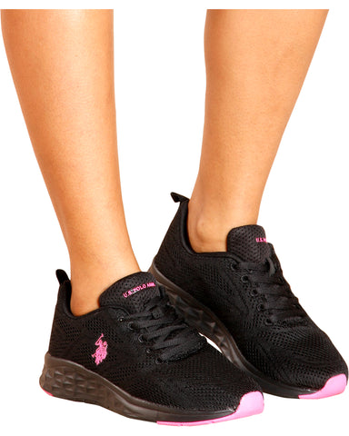 Mesh Low Top Sneaker - Black/Fuschia