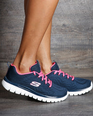 SKECHERS Graceful Get Low Top Sneakers - Navy - ShopVimVixen.com