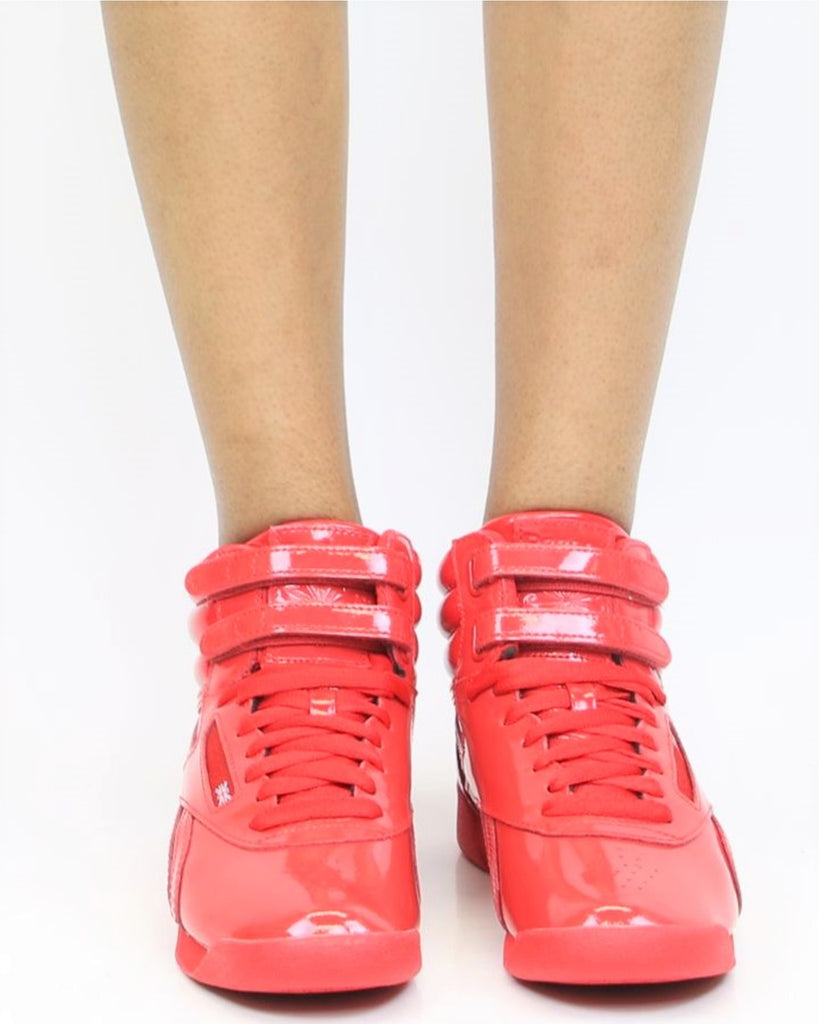 REEBOK Freestyle Hi Patent Sneakers - Red - ShopVimVixen.com