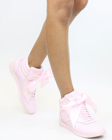 Freestyle Hi Satin Bow Sneaker - Pink