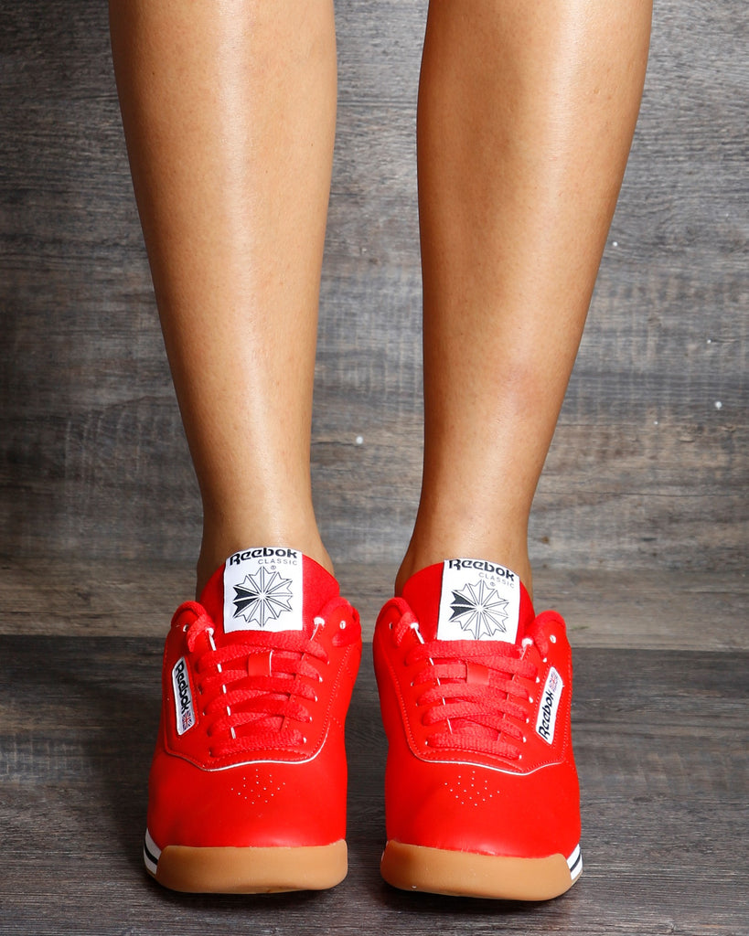 REEBOK Princess Fitness Low Top Sneaker - Red White - ShopVimVixen.com