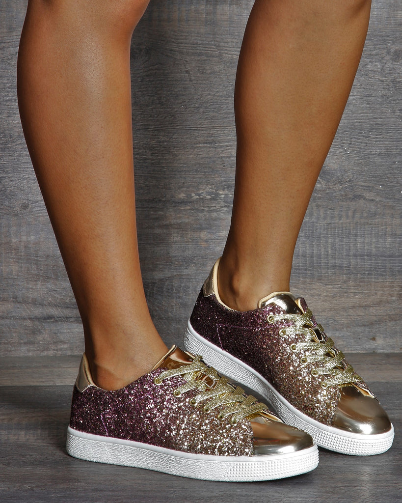 VIM VIXEN Estelle Metallic Glitter Fashion Sneaker - Gold - ShopVimVixen.com