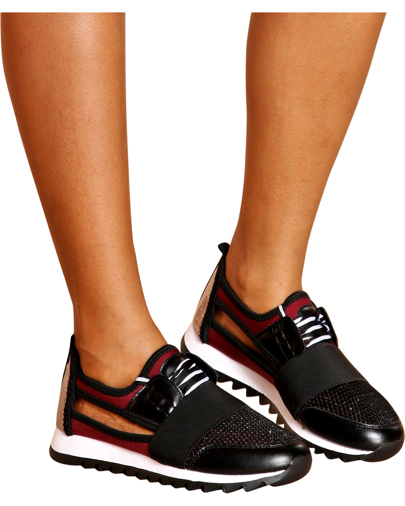 VIM VIXEN Casey Color Block Cut Out Sides Fashion Sneakers - ShopVimVixen.com