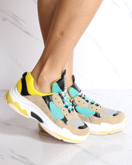 Bellissa Color Block Fashion Sneaker - Yellow