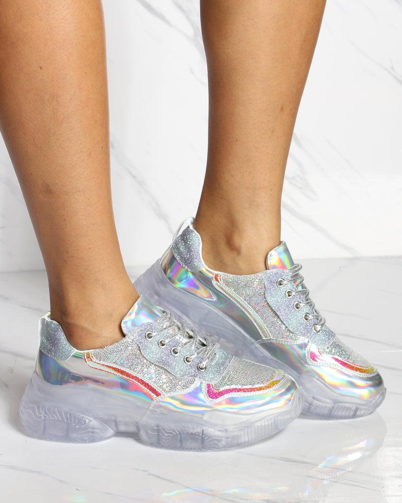 VIM VIXEN Cant Handle This Iridescent Fashion Sneaker - Silver - ShopVimVixen.com