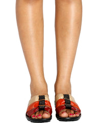 VIM VIXEN Gloria Tri Color Comfort Sandal - Beige Orange Red - ShopVimVixen.com