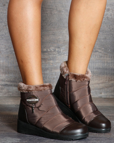Gena Oval Buckle Fur Booties