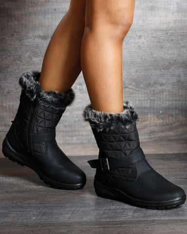Chloe Quilted Fur Top Water Resistance Boot
