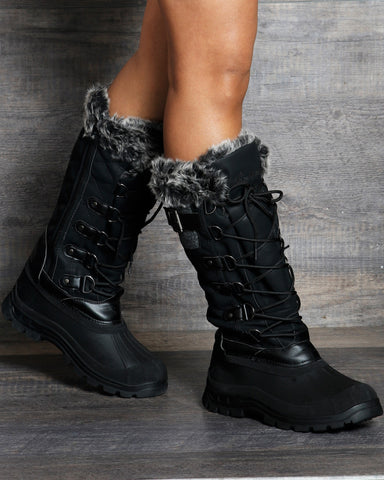 Madison Quilted Snow Boot - Black