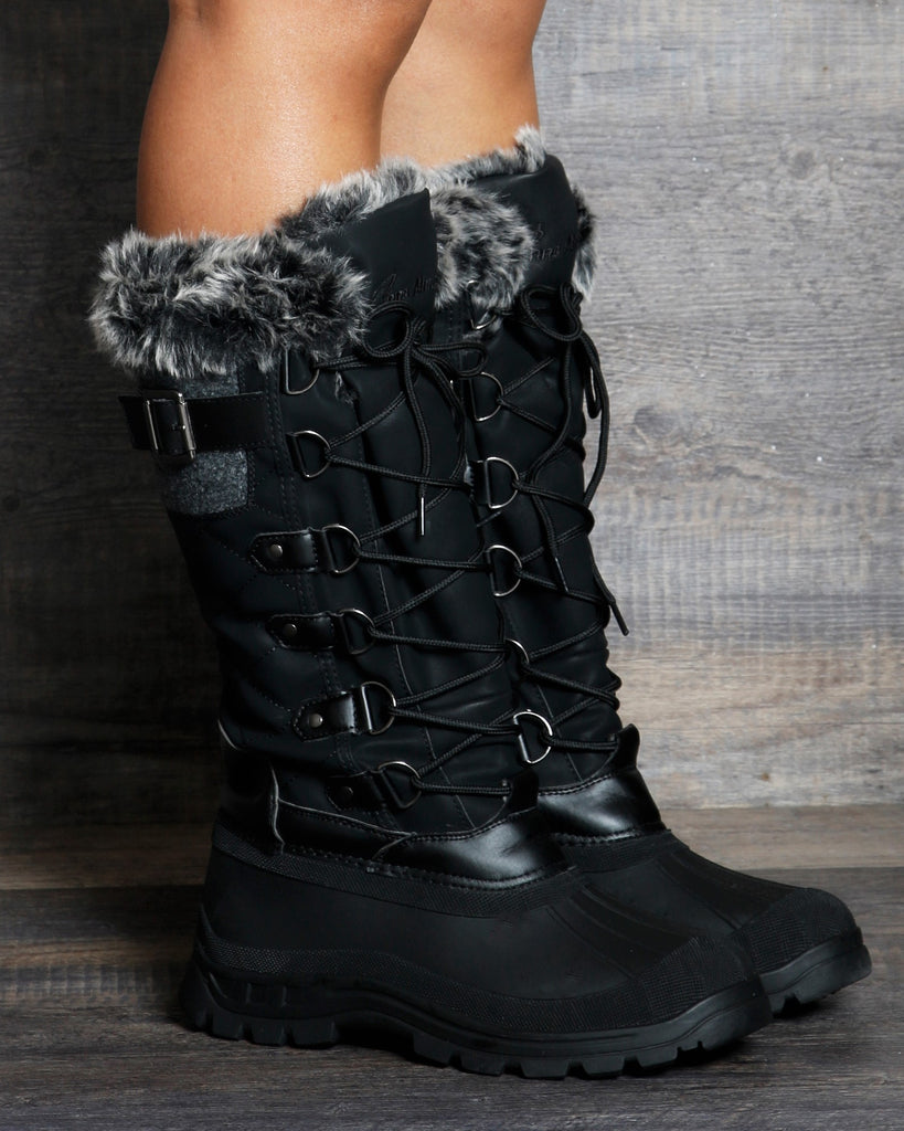 VIM VIXEN Madison Quilted Snow Boot - Black - ShopVimVixen.com