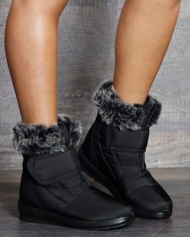 Anita Velcro Fur Snow Boots - Black