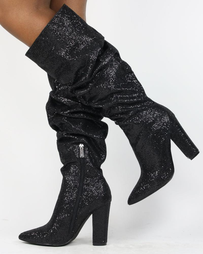 CHANEL Glitter Chunky Heel Boot (Available in 2 Colors)