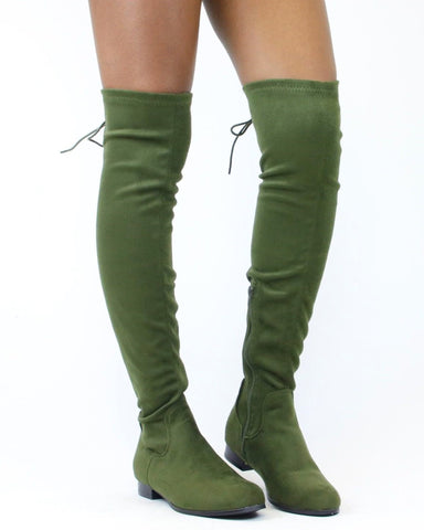 KARA Lace Back Over The Knee Boot (Available in 2 Colors)