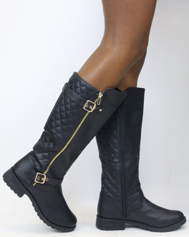 Daya Buckle Quilted Boot