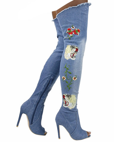 CORA Embroidery Over The Knee Boot