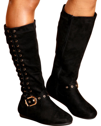 Victoria Side Lace Up Gold Buckle Boot - Black