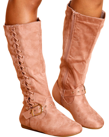 Hope Side Lace Up Gold Buckle Boot - Pink