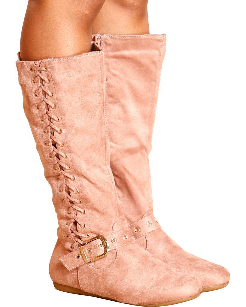 VIM VIXEN Hope Side Lace Up Gold Buckle Boot - Pink - ShopVimVixen.com