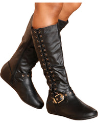 VIM VIXEN Rachel Gold Buckle Boot - Black - ShopVimVixen.com