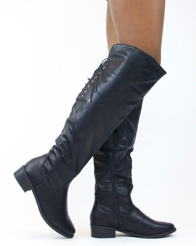JANICE Back Lace Up Riding Boot (Available in 2 Colors)