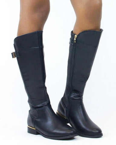 Ivy Streched Back Gold Buckle Boots