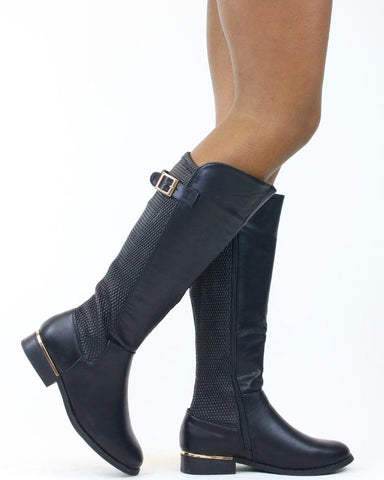 IVY Streched Back Gold Buckle Boot (Available in 2 Colors)