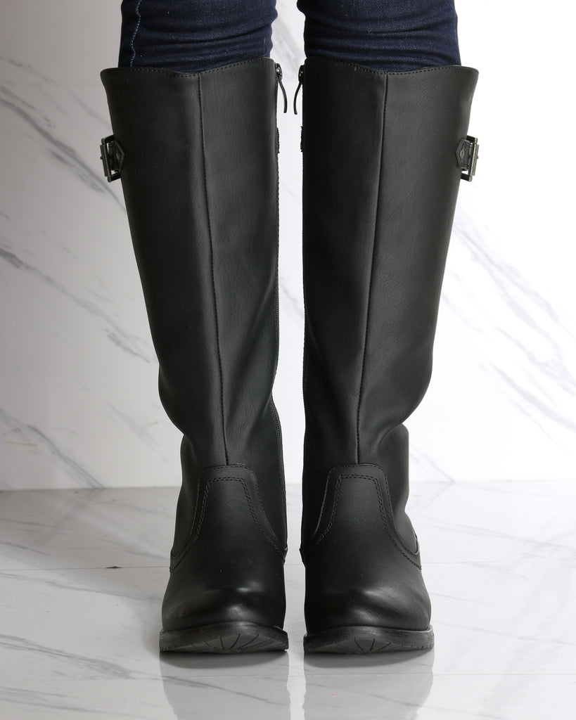 Delphine Buckle Riding Boot - Black