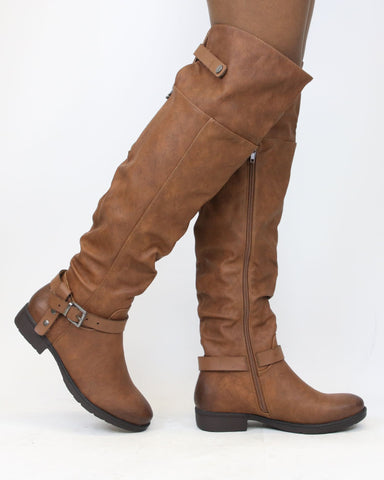 ADALAIDE Back Zipper Over The Knee Boot