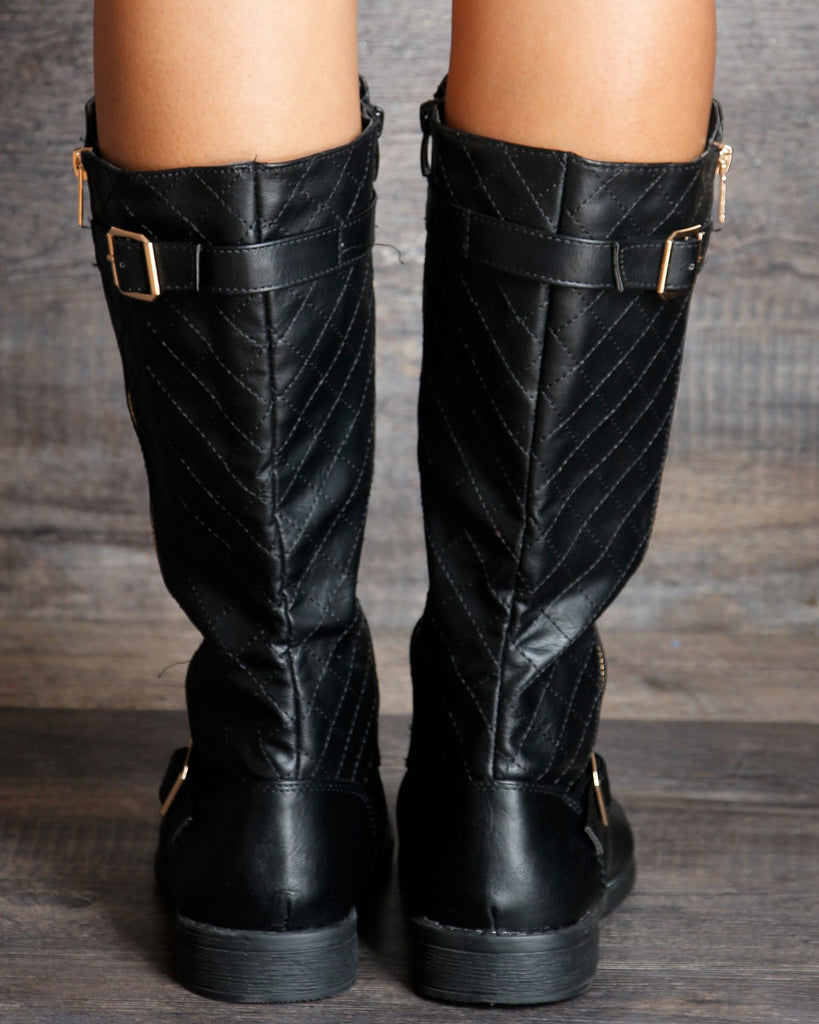 VIM VIXEN Elva Stitched Quilted Boot - Black - ShopVimVixen.com
