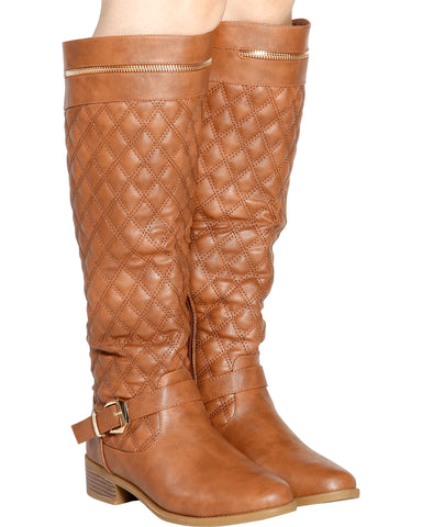 Shelly Quilted Boot - Tan