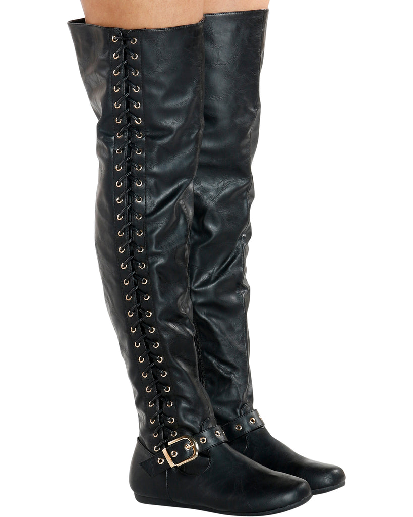VIM VIXEN Kelly Lace Up Side Boot - Black - ShopVimVixen.com