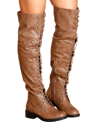 Megen Over The Knee Boot - Taupe