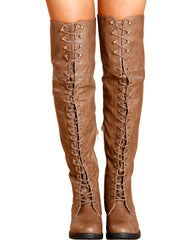 VIM VIXEN Megen Over The Knee Boot - Taupe - ShopVimVixen.com
